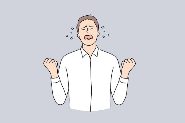 Rabbia, crisi aziendale, concetto di emozioni. personaggio dei cartoni animati di giovane uomo d'affari furioso arrabbiato in piedi che spinge i pugni urlando sensazione di rabbia illustrazione vettoriale