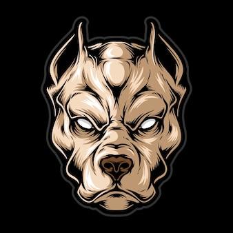 Illustrazione della testa del cane di rabbia