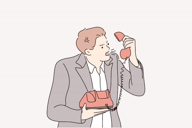 Rabbia, furia, negoziazione, chiamata, stress, urlando il concetto di business