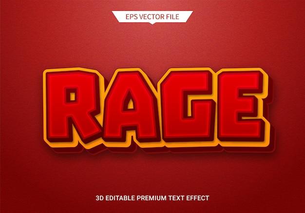 Rabbia rabbia 3d effetto stile testo modificabile vettore premium