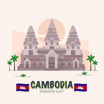 Angkor wat. punto di riferimento della cambogia. 7th wonder of the world. set asean.