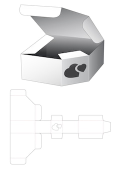 Scatola di latta ad angolo con sagoma fustellata a 2 cuori