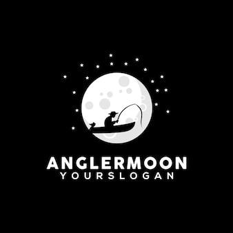 Illustrazione del design del logo del pescatore sulla silhouette della luna
