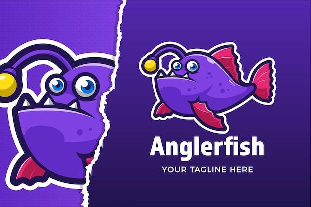 Modello di logo del gioco di sport e di rana pescatrice
