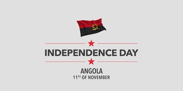Biglietto di auguri per il giorno dell'indipendenza dell'angola, banner, illustrazione vettoriale. festa angolana dell'11 novembre elemento di design con bandiera sventolante come simbolo di indipendenza