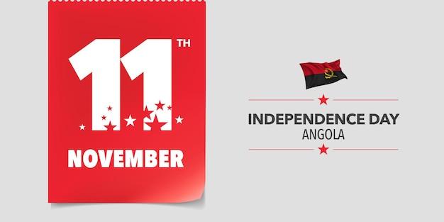 Biglietto di auguri per il giorno dell'indipendenza dell'angola, banner, illustrazione vettoriale. giornata nazionale angolana 11 novembre sfondo con elementi di bandiera in un design orizzontale creativo