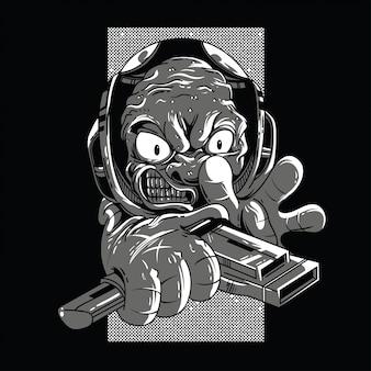 Illustrazione in bianco e nero straniera arrabbiata