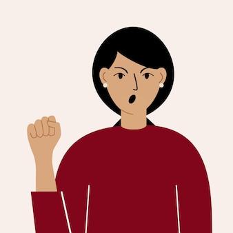 Donna ansiosa arrabbiata con un'espressione dispiaciuta sul viso. una ragazza frustrata e scontenta con un cipiglio