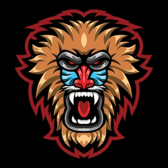 Illustrazione del logo esport baboon arrabbiato