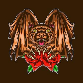 Pipistrello arrabbiato con illustrazione di rosa rossa