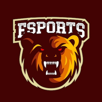 Logo di e-sport dell'orso arrabbiato