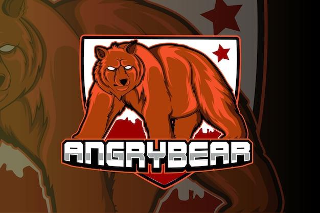 Modello di logo della squadra di e-sport orso arrabbiato