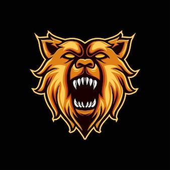 Logo mascotte orso arrabbiato
