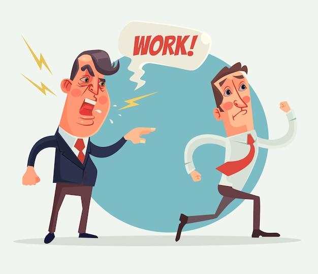 Capo arrabbiato e personaggi del datore di lavoro.