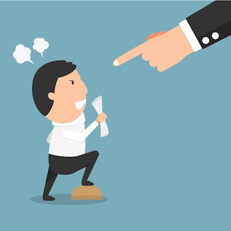 Capo arrabbiato: un uomo che ha una discussione seria con il suo capo. illustrazione