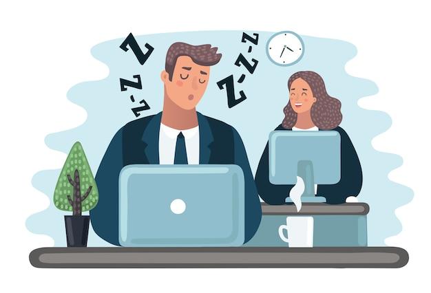 Capo arrabbiato e impiegato addormentarsi al lavoro in ufficio.
