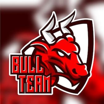 Logo della mascotte arrabbiato mucca toro