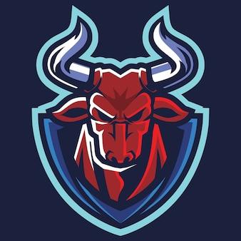 Illustrazione di logo di esport arrabbiato del toro