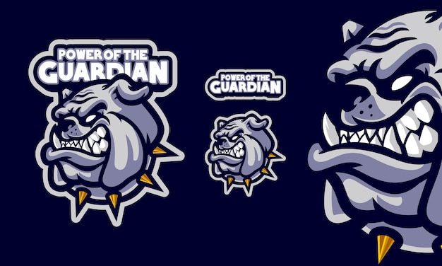 Testa di bulldog arrabbiato con logo mascotte collana