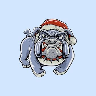 Bulldog arrabbiato con illustrazione di design cappello di natale