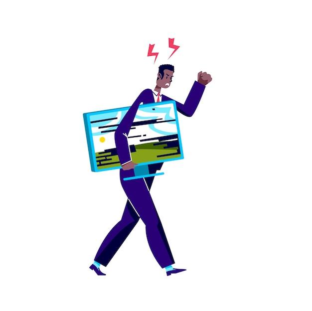 L'uomo arrabbiato di affari che tiene il monitor rotto del computer lo porta al servizio di riparazione
