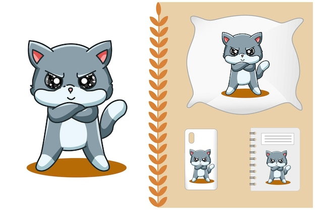 Illustrazione di cartone animato gatto arrabbiato