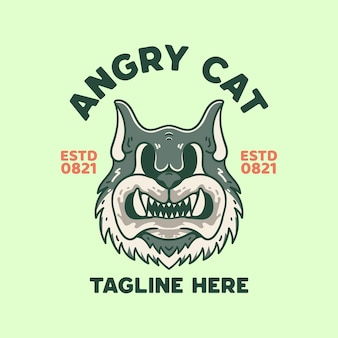 Angry cat illustration t-shirt vintage retrò