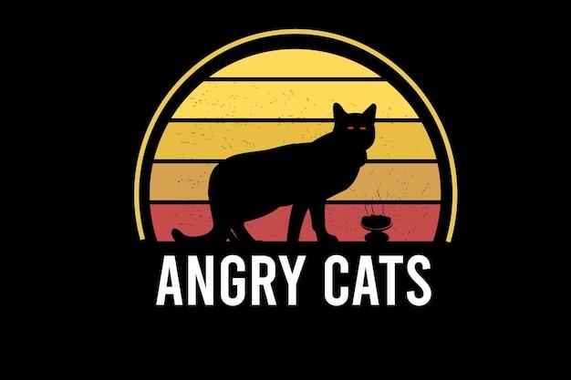 Gatti arrabbiati di colore giallo e arancione