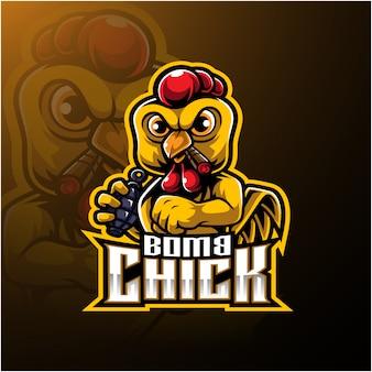 Logo di pulcino arrabbiato con bomba