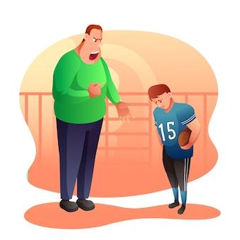 L'allenatore arrabbiato urla all'illustrazione del bambino padre che grida ai personaggi dei cartoni animati del figlio sconvolto