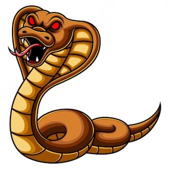 Cartone animato serpente cobra arrabbiato