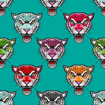 Arrabbiato colorato ghepardo seamless pattern