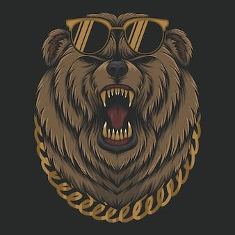 Testa di orso fredda arrabbiata Vettore Premium
