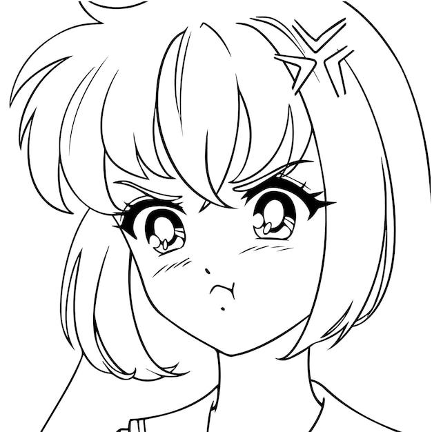 Ritratto di ragazza anime carino arrabbiato.
