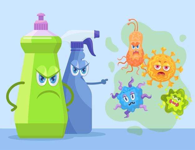 Personaggi detersivi arrabbiati che rimproverano i batteri. prodotti chimici disinfettanti per lavanderia o servizi igienici che prevengono l'infezione, illustrazione di cartoni animati di germi