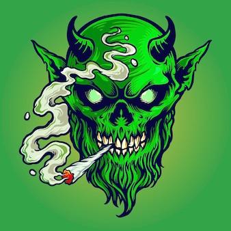 Angry devil fuma marijuana