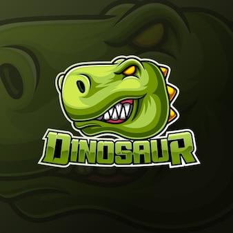 Angry dinosaur head mascot e sport logo design