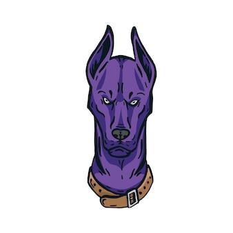 Angry doberman head logo character illustration