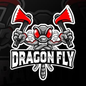 Arrabbiato dragon fly holding asce esport logo illustrazione