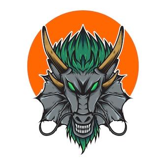 Illustrazione della testa del drago arrabbiato