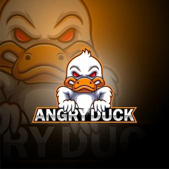 Logo della mascotte esport anatra arrabbiata