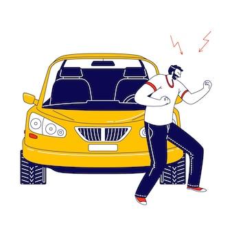 L'uomo arrabbiato dell'abitante litigando e agitando i pugni si prepara a combattere in piedi sul ciglio della strada con l'automobile.