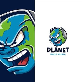 Faccia arrabbiata della terra che indossa il modello del logo delle cuffie
