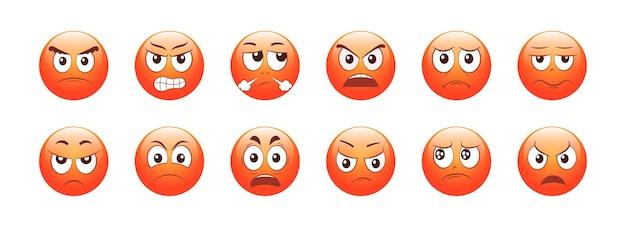 Set di emoticon arrabbiati