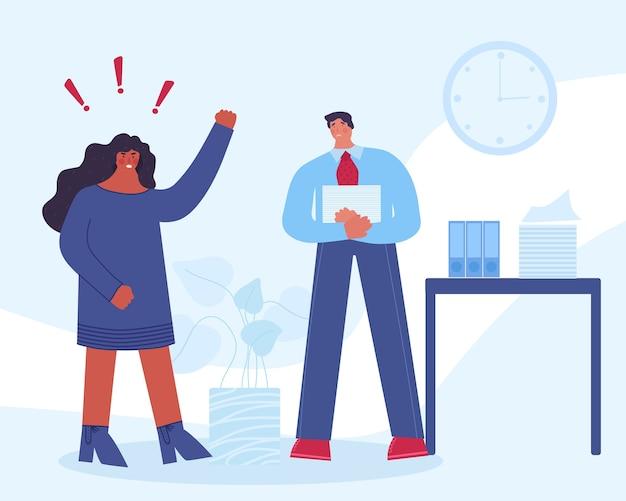 Capo femminile arrabbiato che urla al dipendente. il lavoratore è spaventato. molestie sul posto di lavoro.