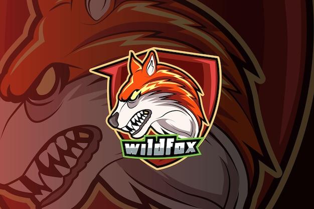 Modello di logo della squadra di e-sport di volpe arrabbiata