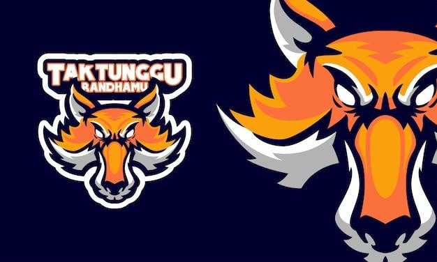 Illustrazione della mascotte del logo di sport della testa di volpe arrabbiata