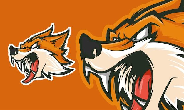 Disegno del logo della volpe arrabbiata pronto per l'uso illustrazione della mascotte di vettore premium