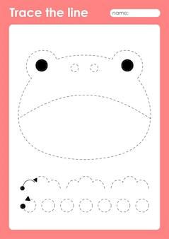 Rana arrabbiata - tracciare linee foglio di lavoro prescolare per bambini per praticare abilità motorie fini