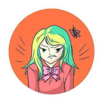Arrabbiato furioso anime manga ragazza isolata su sfondo bianco